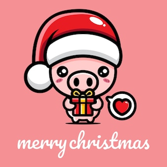 Cute pig celebrating christmas