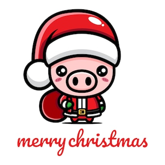 크리스마스를 축하하는 귀여운 돼지