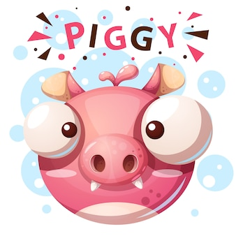 Cute pig character - cartoon illustration