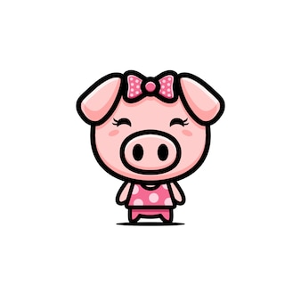 Cute pig character  design