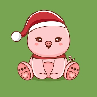 Cute pig character illustration with merry christmas greetings premium vector