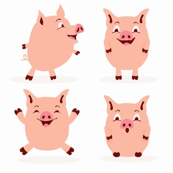 Cute pig character set - adorable flat style pig illustration collection