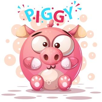 Cute pig characters