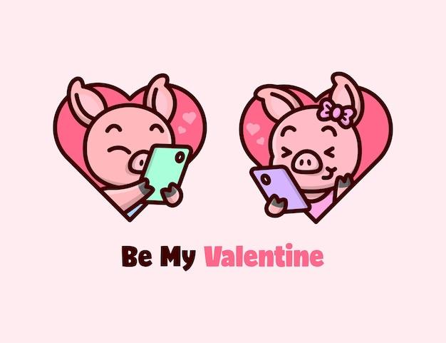 Милая свинья болтает и чувствует себя счастливой и милой. с днем святого валентина