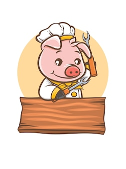 Cute pig chef barbeque cartoon character mascot