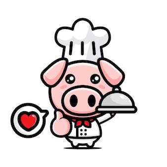 귀여운 돼지 요리사 캐릭터 디자인