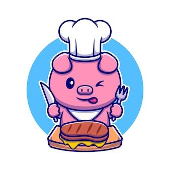 쇠고기 스테이크 만화 캐릭터를 먹는 귀여운 돼지 요리사. 동물성 음식입니다.