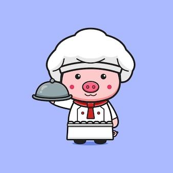 Симпатичный шеф-повар свиньи, держащий пластину мультфильм значок иллюстрации. дизайн изолированные плоский мультяшном стиле