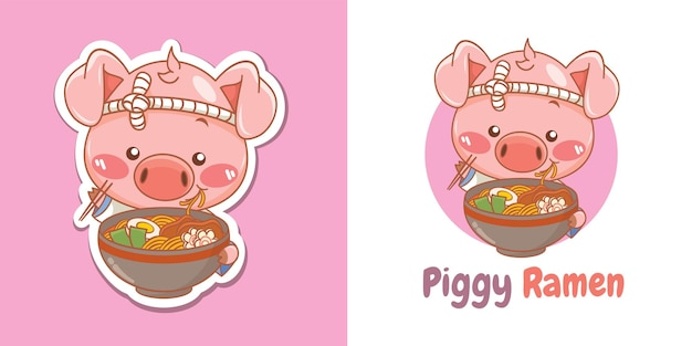 Cute pig chef mascot logo eating a ramen japanese food