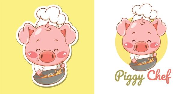 Симпатичный талисман шеф-повара свиньи с жареным рисом в воке