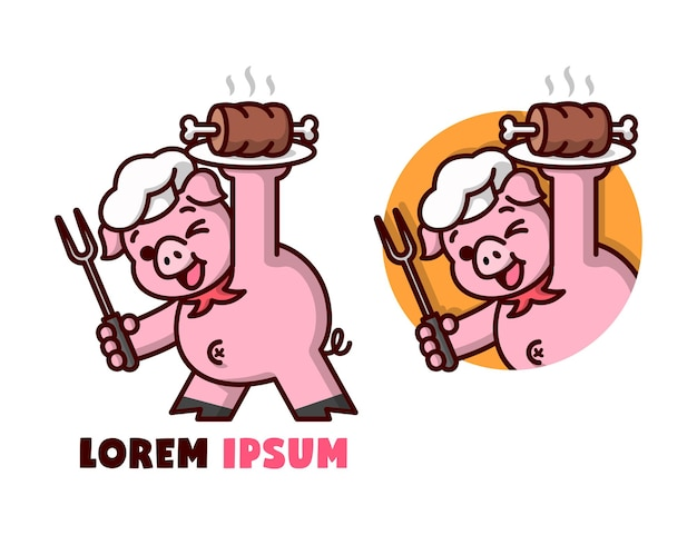 Cute pig chef serving a plate of meat cartoon logo