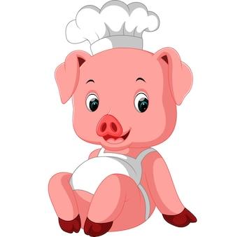 かわいい豚のシェフ