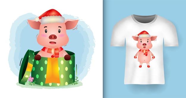 티셔츠 디자인의 선물 상자에 산타 모자와 스카프를 사용하는 귀여운 돼지 크리스마스 캐릭터