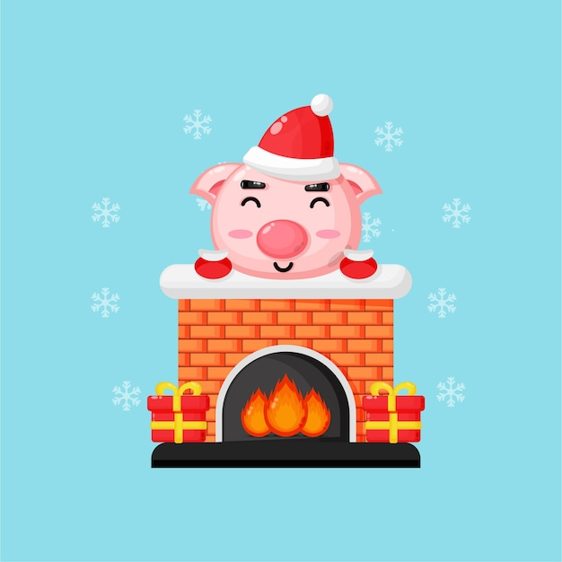 Cute pig on the christmas chimney fireplace