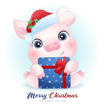 Cute  pig for christmas day with watercolor illustration
