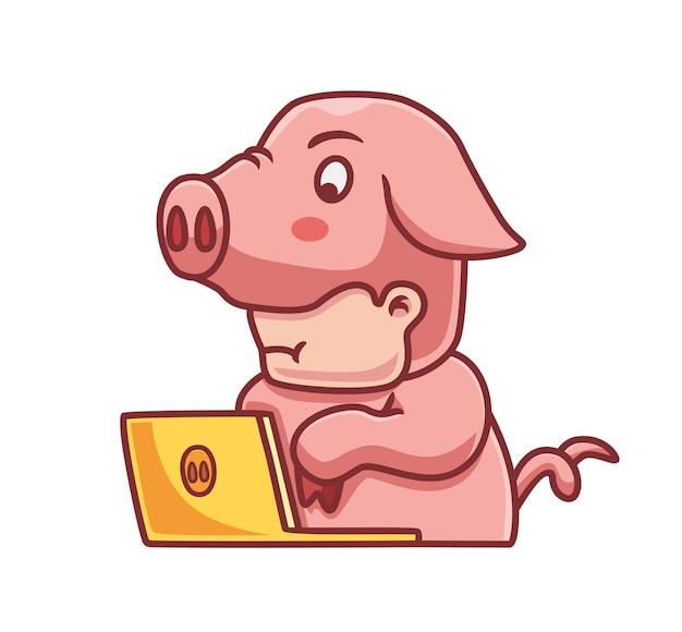 かわいい豚のコスチュームハッカー孤立した漫画の人の技術イラストフラットスタイルに適しています