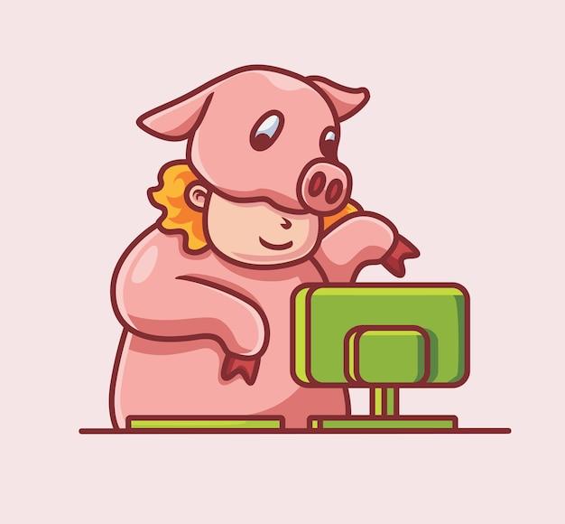 コンピューター上のかわいい豚の衣装孤立した漫画動物技術イラストフラットスタイル