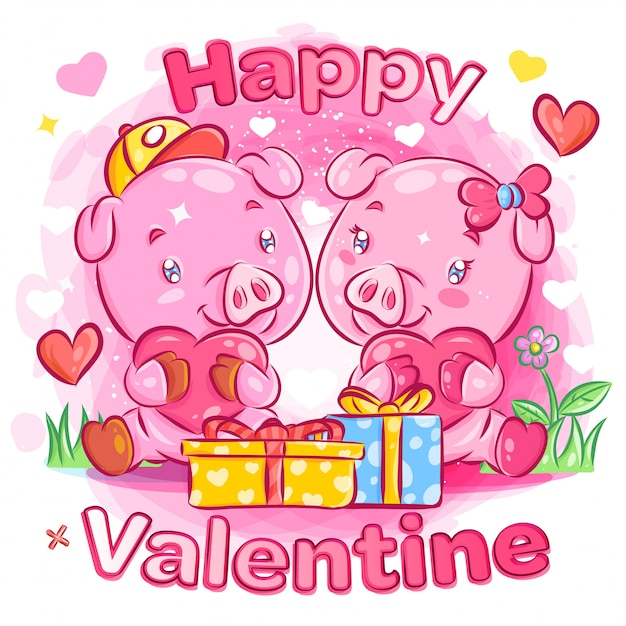 Cute pig couple feeling in love with valentine's day gift illustration