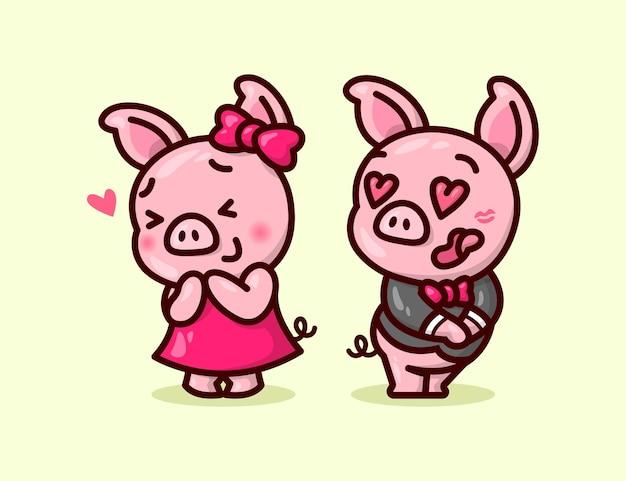 Милая свинья пара целует щеку своего парня и чувствует себя такой влюбленной