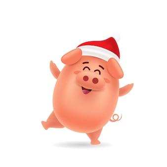 Cute pig dancing with red cap