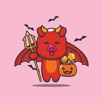 호박 할로윈을 들고 귀여운 돼지 악마 귀여운 할로윈 만화 일러스트 레이션