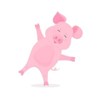 Милая свинья делает упражнения стоя на одной ноге. забавный мультяшный персонаж свинья вектор.