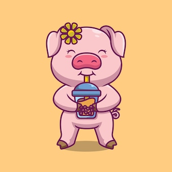귀여운 돼지 dringking 거품 차 만화 일러스트 레이션