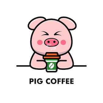 Cute pig drink coffee cup cartoon animal logo coffee illustration