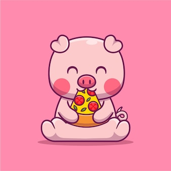 Cute pig eating pizza cartoon  illustration. animal food  concept isolated  flat cartoon