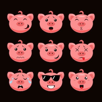 Cute pig emoticon
