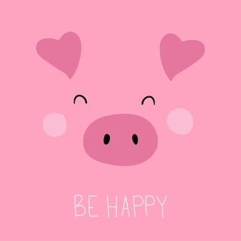 Cute pig face without outline funny cartoon muzzle be happy vector card in flat style