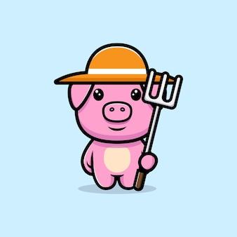 모자 마스코트 캐릭터를 입고 귀여운 돼지 농부