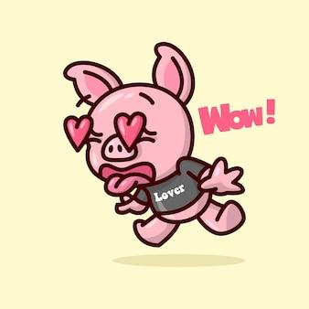 Симпатичная свинья чувствует себя так в выражении любви, пока его глаза не выскакивают и не превращаются в форму сердца. иллюстрация дня валентина.