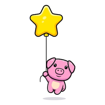 Cute pig floating with star balloon mascot character