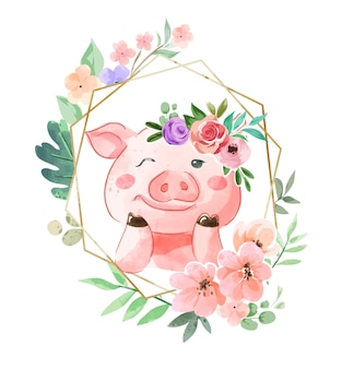 Cute pig in floral crown and flower frame illustration
