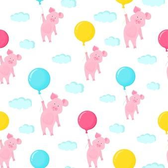 風船を持って空を飛んでいるかわいいブタ。面白い貯金箱の漫画のキャラクター。シームレスなパターン。