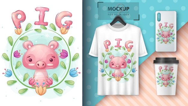 Cute pig in forest  poster and merchandising