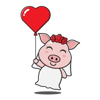 Милая свинья девочка держит воздушный шар любви Premium векторы