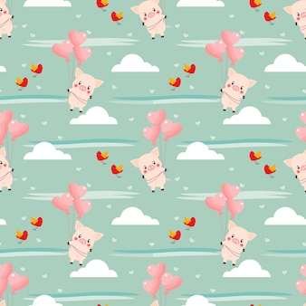 Cute pig and heart-shaped balloon seamless pattern.