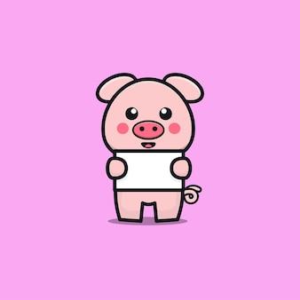 Cute pig hold banner cartoon illustration