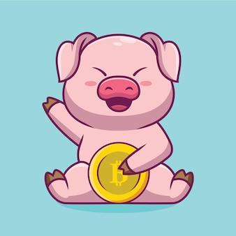 Bitcoin 만화 일러스트 레이 션을 들고 귀여운 돼지