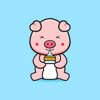 Cute pig holding milk bottle pacifier cartoon icon illustration. design isolated flat cartoon style