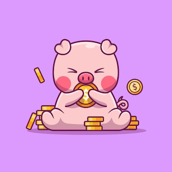 Cute pig holding money animal