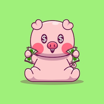 Cute pig holding money