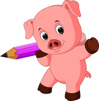 Cute pig holding pencil