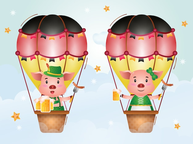 Cute pig on hot air balloon with traditional oktoberfest dress
