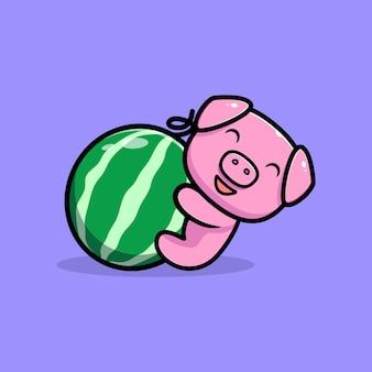Cute pig hug watermelon mascot character