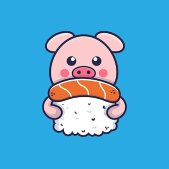Cute pig hugging sushi cartoon illustration