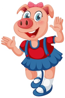 Cute pig in human-like pose isolated