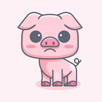 Cute pig for icon logo sticker and illustration
